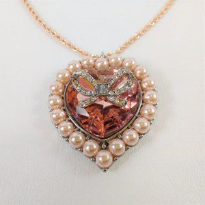 Betsey Johnson pink heart pearl ribbon necklace